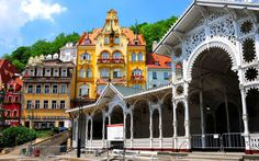 The Market Colonnade - Karlovy Vary, Czech Republic Story Inspiration, Czech Republic, Barcelona Cathedral, Beautiful Places, Places To Visit, Europe, Explore, Marketing, Mansions