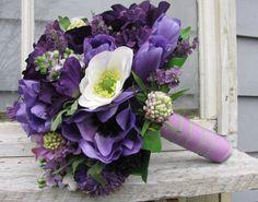 Silk Bridal Bouquet in Purples by blueeyesbridal on Etsy, $85.00