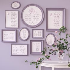 Don't be afraid to be an exhibitionist. Display calligraphed names, grouped according to table, in frames that form a blueprint of the reception. The effect is altogether showstopping.