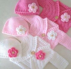Coat baby pink and white Crochet, easy to make graphic.