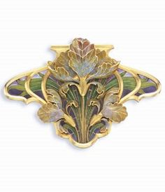 AN ART NOUVEAU ENAMEL AND GOLD BROOCH, BY HENRI VEVER. Centring upon a pale yellow, blue and brown plique-à-jour enamel flower and two smaller blossoms, with green enamel gold leaves, on a violet plique-à-jour enamel and gold scrolling panel, mounted in gold, circa 1900, signed Vever for Henri Vever, Paris.
