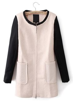 Beige Patchwork Round Neck Long Sleeve Wool Coat