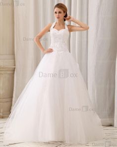 Prinzessin Neckholder romantisches Brautkleid mit Bordüre ohne Ärmeln - Damebox.com