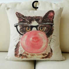 Cat throw pillow for home decor funny animal Square Cushions