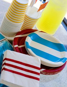 Stripe paper products for pool party