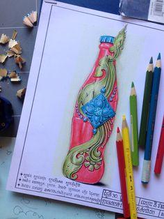 Kbach Khmer | Bottle | Cocacola | Cambodia Angkor, Thailand Art, Thai Art, Sketch Design, Bottle Art, Traditional Art, Cambodia, Art Drawings, Diy And Crafts