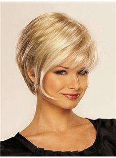 High Quality Short Straight Blond 10 Inches Synthetic Hair Wigs 10868976 - Synthetic Hair - Dresswe.Com