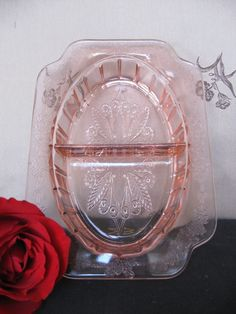 I use pieces such as this Depression glass relish tray on my Easter and spring tables.