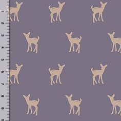 Fawn Silhouette on Gray Ridge Cotton Jersey Blend Knit Fabric