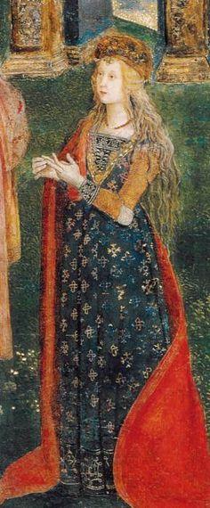 Presunto ritratto di Lucrezia Borgia nella Disputa di Santa Caterina del Pinturicchio. L'affresco si trova nell'Appartamento Borgia.