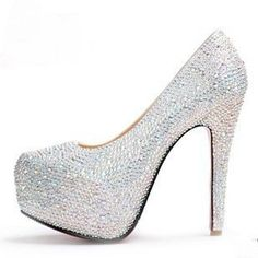 Silver Diamond High Heel Shoes | Tsaa Heel