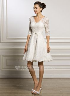 A-Line/Princess V-neck Knee-Length Satin Lace Wedding Dress With Bow(s) (002056986)