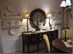 two lamps a mirror and pictures | for the home - dining/kitchen