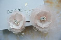 Ivory Pink Blush Wedding Hair Flower by DonataleFlowers4You