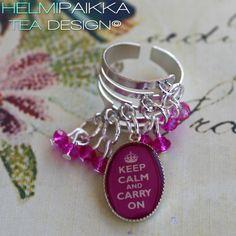 Pinkki keep calm kristallisormus