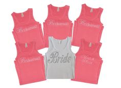 Bride Shirt Tank (6) Bridesmaid shirts tanks. rhinestone crystal writing. wedding party. bachelorette. sparkly writing. tiffany blue. on Etsy, $81.00