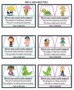 JUST UPDATED...ADDED 12 MORE CARDS.  From Tech 'n Talk SLPs -  36 cards teaching preschoolers to identify absurdities.  Great for preschool teachers or SLPs.  Also includes a 25 page absurdities book for use on an iPad in iBooks.  illustrations and sentences....makes recognizing absurdities fun and easily understood.  Only $2.40 til midnight. Speech And Language, Language Arts, Preschool Teachers, Apraxia, Early Intervention, Speech Therapy Activities, Therapy Ideas, Printable Cards, Childhood Education
