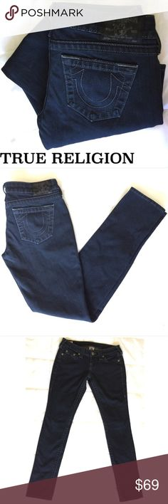 True Religion Jeans❤️ Super Dark Blue True Religion Skinny Jeans. ❤️ Your new go to jeans, perfect for just about anything thanks to the versatile color and awesome style! First photo has the most accurate depiction of color between dark dark blue and black. Gently loved condition. True Religion Jeans Skinny