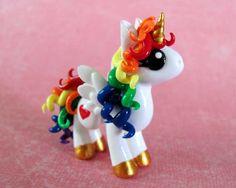 Polymer Clay Curly Haired Rainbow Unicorn - Unicorns and rainbows - Polymer Clay Projects, Polymer Clay Charms, Polymer Clay Creations, Clay Crafts, Diy Arts And Crafts, Fun Crafts, Palmer Clay, Biscuit, Clay Dragon