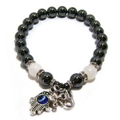 Hematite and Moonstone 'Protection From Negativity' Bracelet | Overstock.com Shopping - The Best Prices on Bracelets