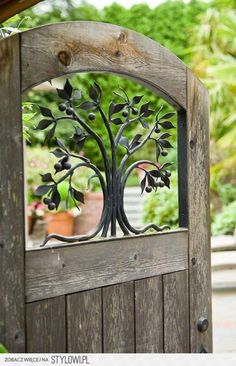 """with a View Wooden Gate Door . """"Wood"""" work great with our wooden fence. """"Wood"""" work great with our wooden fence. Tor Design, Gate Design, Garden Doors, Garden Gates, Secret Garden Door, Garden Entrance, Entrance Gates, Garden Beds, Rustic Gardens"""