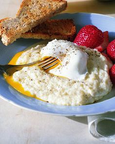 Cooking grits with milk and cottage cheese gives them an extra calcium boost. Use this recipe when making our Poached Eggs Over Grits.