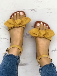 Shop Solid Denim Bow Decorate Sandals right now, get great deals at Joyshoetique… - Summer Shoes Women's Shoes, Cute Shoes, Me Too Shoes, Shoe Boots, Golf Shoes, Black Shoes, Cute Sandals, Flat Sandals, Slide Sandals