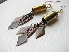 Bullet Earrings 9mm Casing Brass Diamond Feather by SomewearInTyme, $30.00 #etsy #earrings #bullet