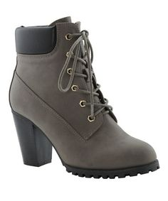 This Gray Lace-Up Cici Bootie is perfect! #zulilyfinds