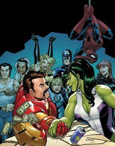 Tony Stark vs She-Hulk by Amanda Conner