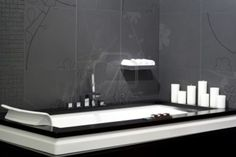 Smart Black Bathroom Design With Geometric Bathtub And Candles - pictures, photos, images