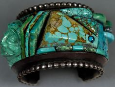 Huge Old Pawn Vintage Navajo TURQUOISE Sterling DANIEL BENALLY Bracelet RARE