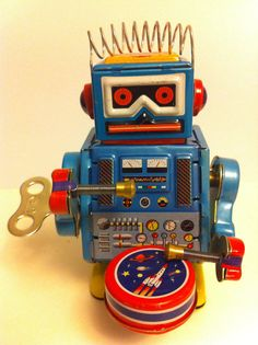 Tin Toy Vintage Retro Toy Robot Metal 1980s Blue by xxeightiesxx, $19.99