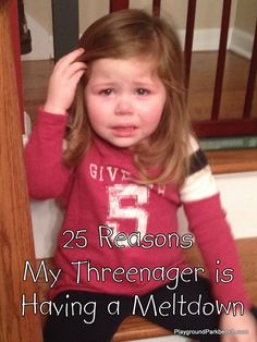 Does your three year old have big emotions over the smallest of hiccups?  In those moments, I refer to my preschooler as my Threenager... here are the latest 25 reasons that set her off!