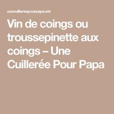 Vin de coings ou troussepinette aux coings – Une Cuillerée Pour Papa