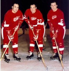 Bobby Baun, Frank Mahovlich & Carl Brewer with the Red Wings Red Wings Hockey, Red Pictures, Star Wars, Tim Hortons, Hockey Cards, Sports Figures, National Hockey League, Detroit Michigan, Detroit Red Wings