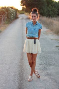 I would wear the denim shirt, but not with a cream skirt and silver sandals.. Just no. Fashion alert!