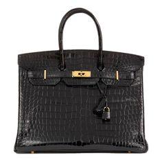 d34da8346a56 59k Hermes Black Shiny Crocodile 35cm Birkin Bag