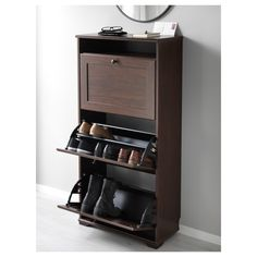 Shoe storage small space BRUSALI Shoe cabinet with 3 compartments - brown - IKEA Saving Money On Hom Ikea Brusali, Hemnes Shoe Cabinet, Small Shoe Cabinet, Shoe Cabinet Design, Shoe Storage Small, Plastic Drawers, Closet Bedroom, Entry Closet, Footlocker