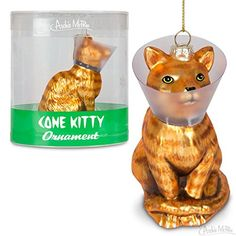 Cone Kitty Glass Holiday Christmas Ornament