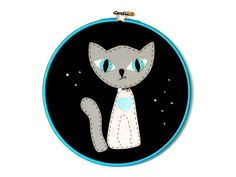 Cute Cat Hoop Art  Personalised Cat Wall Art  Felt by FeltBerryUK