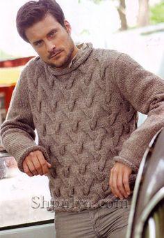 Бежевый мужской пуловер с узором косы спицами