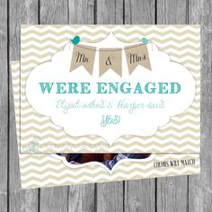 We're Engaged Photo Card 5x7 PRINTABLE on Etsy, $6.75