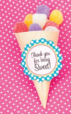 """party favor- let the kids fill """"cones"""" with extra candy left over from sundae bar...good way to have no leftovers!"""