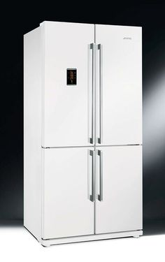 Buy Smeg Four Door Frost Free American Fridge Freezer - White from Appliances Direct - the UK's leading online appliance specialist Refrigerator, American Fridge, Appliances Direct, Buying Appliances, White Fridges, Smeg, White Appliances, White Kitchen Traditional, Stools For Kitchen Island