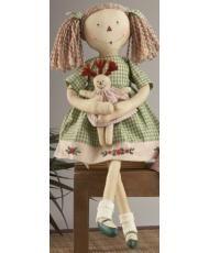 Muñecas de Trapo Raggedy - vestido verde con muñequita - 38cm
