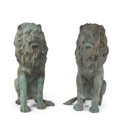 A pair of bronze garden lions, 19th/20th century, 48cm high / MAD on Collections - Browse and find over 10,000 categories of collectables from around the world - antiques, stamps, coins, memorabilia, art, bottles, jewellery, furniture, medals, toys and more at madoncollections.com. Free to view - Free to Register - Visit today. #Bronze #DecorativeArts #MADonCollections #MADonC