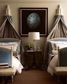 Guest Room / How creative, turn the shelves upside down to form a topper to hang material from.