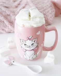 """Emma Hayward 🌸 on Instagram: """"Hello Monday and hello Halloween week! 🎀🍫👻💖☕️ . Made this yummy hot choc last weekend with cream and ghost marshmallows 🥰 . #marie…"""" Disneyland, Marie Cat, Halloween Week, Girlie Style, Pink Pumpkins, Disney Mugs, Hello Monday, Teapots And Cups, Le Far West"""