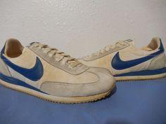 27da141bd3 Vtg 1984 Nike Running Shoes size 8.5 Swoosh Sole Rare Blue Oceania OG | eBay